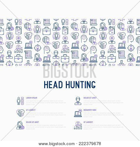 Head hunting concept with thin line icons: employee, hr manager, focus, resume; briefcase; achievements; career growth, interview. Vector illustration for banner, web page, print media.