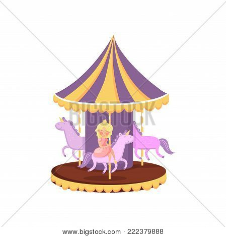 Colorful carousel with horses, merry go round in an amusement park cartoon vector Illustration on a white background