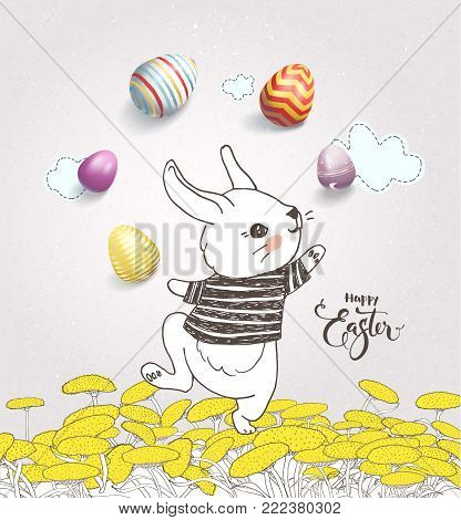 Cute hand drawn bunny dressed in striped t-shirt juggling with colorful eggs on dandelion field and Happy Easter handwritten wish against pink background with clouds. Holiday vector illustration