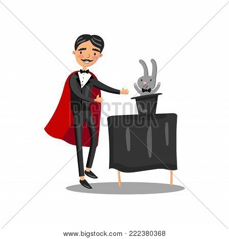 Male magician in black suit and red cape performing his trick rabbit appearing from a magic top hat cartoon vector Illustration on a white background