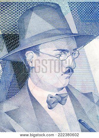 Fernando Pessoa portrait from Portuguese money - Escudos