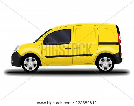 realistic cargo van. side view. delivery and shipping