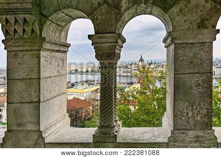View of the Parliament building from the Buda Hill. Fisherman's Bastion. Budapest. Hungary.