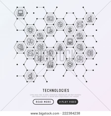 Technologies concept in honeycombs with thin line icons of: electric car, rocket, robotics, solar battery, machine intelligence, web development. Vector illustration for banner, web page, print media.