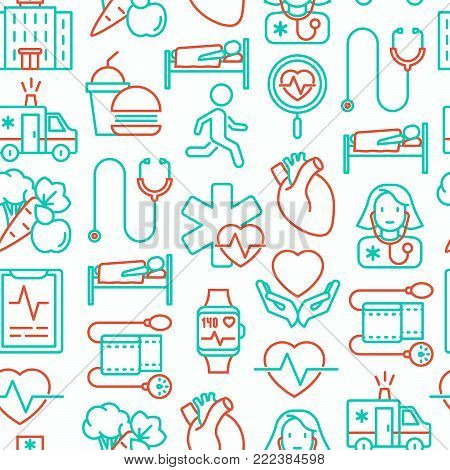 Cardiology seamless pattern with thin line icons: cardiologist, stethoscope, hospital, pulsometer, cardiogram, heartbeat. Modern vector illustration.