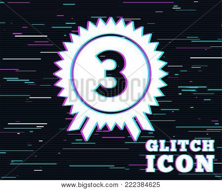 Glitch effect. Third place award sign icon. Prize for winner symbol. Background with colored lines. Vector