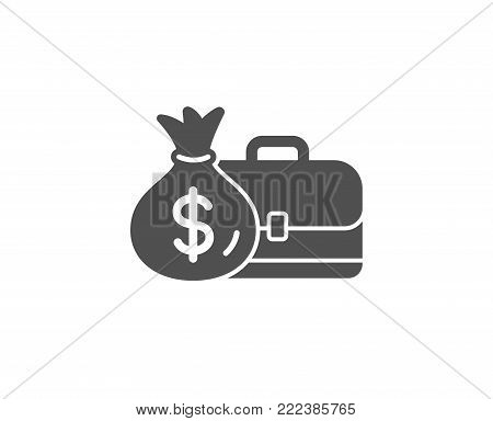 Business case simple icon. Portfolio and Salary symbol. Diplomat with Money bag sign. Quality design elements. Classic style. Vector