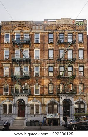 New York, november 2016: New York City brownstone tenement block located at 96 and 98 St. Mark's Place used for Led Zeppelin's