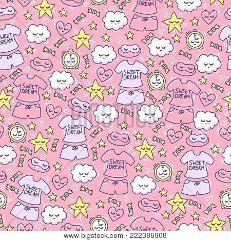 Female background with funny clouds, hearts, stars, candy, alarm clock, sleep mask and pajamas. Pink seamless pattern for little princess. Female ornament. Good Night.