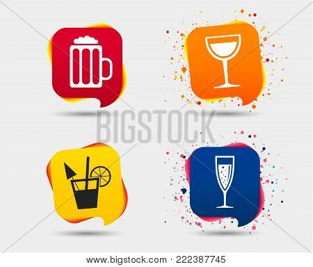 Alcoholic drinks icons. Champagne sparkling wine with bubbles and beer symbols. Wine glass and cocktail signs. Speech bubbles or chat symbols. Colored elements. Vector