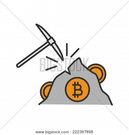 Navvy pick with bitcoin sign color icon. Cryptocurrency mining. Pickaxe. Isolated vector illustration