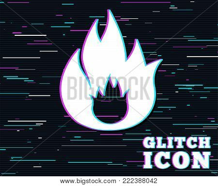 Glitch effect. Fire flame sign icon. Fire symbol. Stop fire. Escape from fire. Background with colored lines. Vector