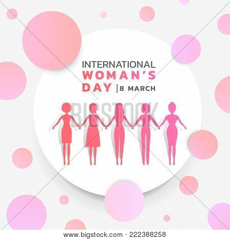 international women's day with background pink purple womans holding hands in white circle and abstract pink purple circle texture vector banner design