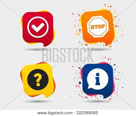 Information icons. Stop prohibition and question FAQ mark signs. Approved check mark symbol. Speech bubbles or chat symbols. Colored elements. Vector