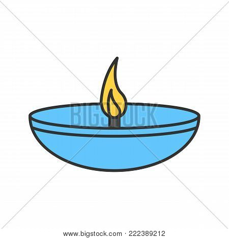 Islamic oil lamp color icon. Diya. Islamic culture. Burning bowl oil lamp. Isolated vector illustration