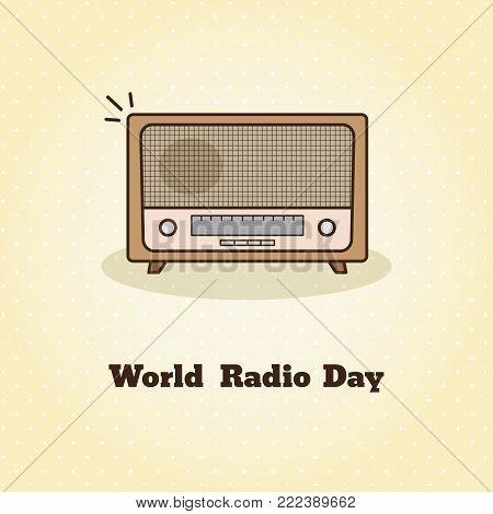 World radio day. Vector illustration of retro radio.