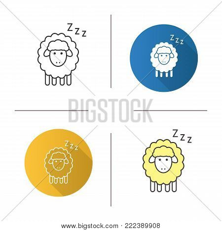 Sheep with zzz symbol icon. Flat design, linear and color styles. Counting sheep to sleep. Isolated vector illustrations