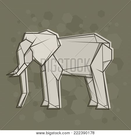Vector abstract simple illustration drawing outline elephant.