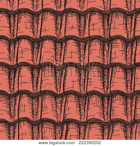 Vector background seamless drawn in pencil red roof tile.