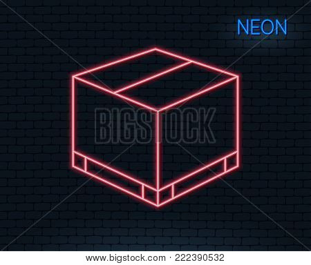 Neon light. Parcel box line icon. Logistics delivery sign. Package tracking symbol. Glowing graphic design. Brick wall. Vector