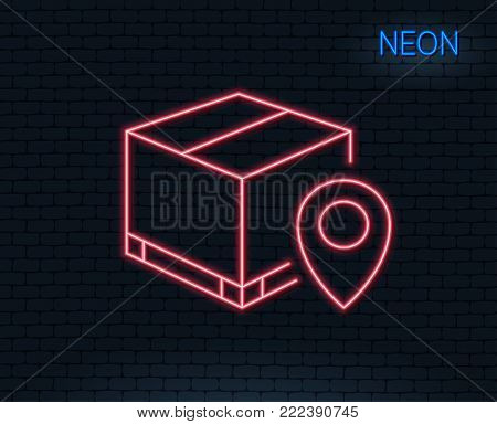 Neon light. Parcel tracking line icon. Delivery monitoring sign. Shipping box location symbol. Glowing graphic design. Brick wall. Vector