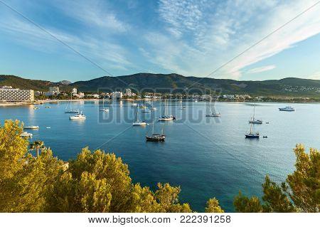 Bay port de Andratx, Mallorca, Spain.bay with yachts in Palma Spain