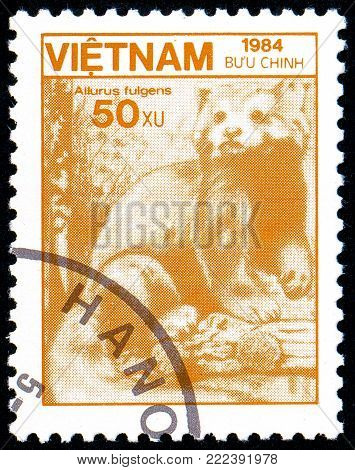 Ukraine - circa 2018: A postage stamp printed in Vietnam show Red Panda or Ailurus fulgens. Series: Fauna and Flora. Circa 1984.