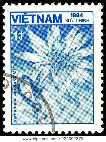Ukraine - circa 2018: A postage stamp printed in Vietnam show flower Nymphaea ampla. Series: Fauna and Flora. Circa 1984.