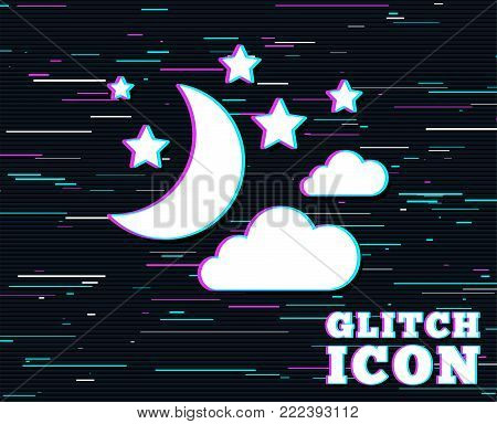 Glitch effect. Moon, clouds and stars icon. Sleep dreams symbol. Night or bed time sign. Background with colored lines. Vector
