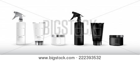 Realistic cosmetic bottle mock up set package.  Cosmetic brand template.3d cosmetic bottle. Vector cosmetic packaging. Cosmetics beauty products.  Cosmetic isolated product.