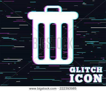 Glitch effect. Recycle bin sign icon. Bin symbol. Background with colored lines. Vector