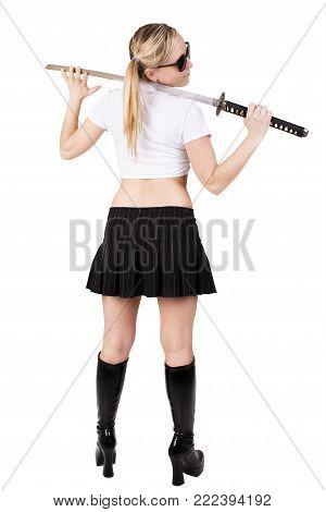 Bad girl holding katana, isolated on white background.