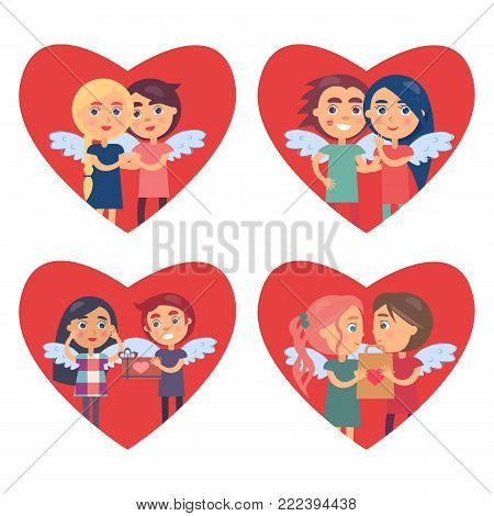 Couples in love Valentine Day vector illustration with four falling in love pairs with wings depicted in big red hearts isolated on white background