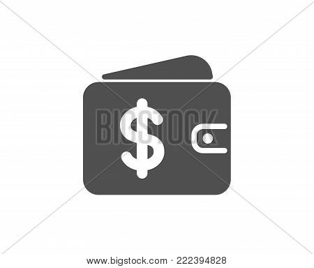 Shopping Wallet simple icon. Dollar sign. USD Money pocket symbol. Quality design elements. Classic style. Vector