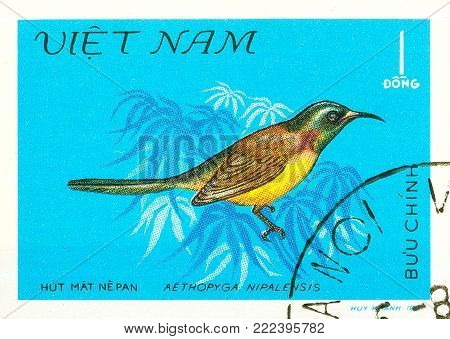 Ukraine - circa 2018: A postage stamp printed in Vietnam show bird Green-tailed Sunbird or Aethopyga nipalensis. Series: Birds. Circa 1981.