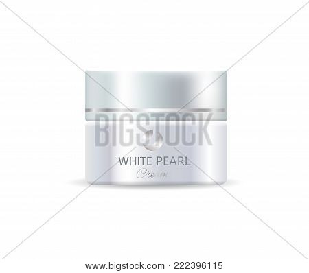 Closeup of white pearl cream, single container containing cosmetic product for womens skincare, vector illustration isolated in realistic design