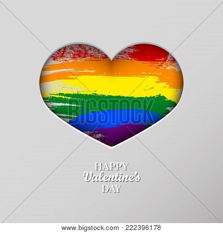 LGBT rainbow pride flag in a shape of heart. Lesbian, gay, bisexual, and transgender 3d paper art heart in grunge style. Template for postcards, posters, advertising, printing, web design. Valentine's day concept background. Vector illustration. Stock cli