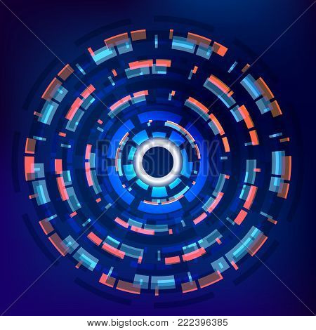 Futuristic interface, technology circle with white button in the center, techno geometrical background. Vector illustration.