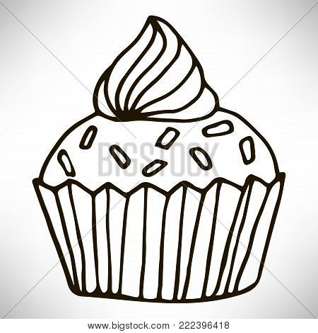 Cute hand drawn cupcake icon. Cake of black thin line contour isolated on white background. Design element for coloring book for adults. Vector illustration.