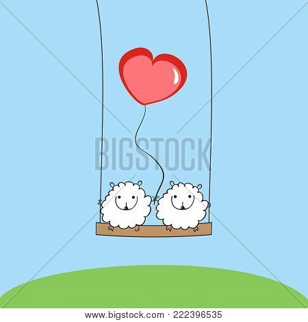 Two sheep with a heart on the swing.  Two lovers sheep with balloon. Beautiful holiday card. vector illustration. Love and Valentine's day.