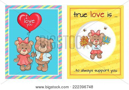 True love is an always support, lovely teddy girl in cheerleading and pair of bears going to present balloon with text I love you vector Valentines Day