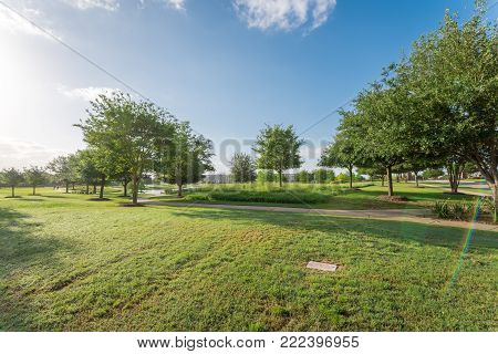 Green Park Near Residential Neighborhood In Sugarland, Texas, Usa