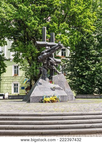 Lviv, Ukraine - May 31, 2016: Monument to the Victims of Communist Crimes designed by P. Shtaier and R. Syvenkyi. It is a historical memorial to the millions of innocent people who became victims of the Soviet power and Stalinist regime