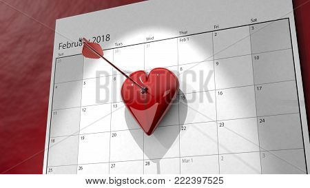 A 3D image of a heart pinned to a calendar by arrow marking February the 14th, Valentine's Day.