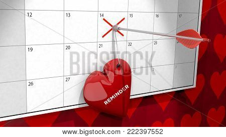 A 3D image of a heart hanging by a string and pinned to a calendar by arrow marking February the 14, Valentine's Day.