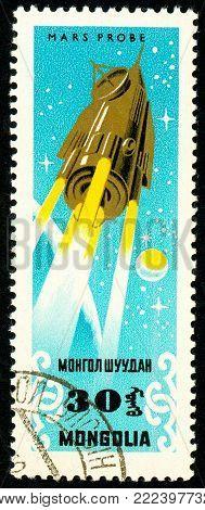 Ukraine - circa 2018: A postage stamp printed in Mongolia show Mars probe. Series: Exploration of the universe. Circa 1964.