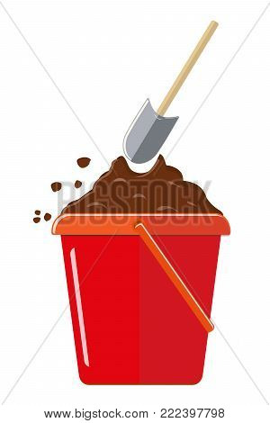 Plastic bucket to the ground and shovel. Isolated on white background. Vector illustration