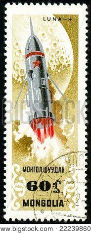 Ukraine - circa 2018: A postage stamp printed in Mongolia show Sputnik Luna 4. Series: Exploration of the universe. Circa 1964.