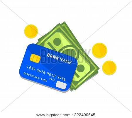 Bank card bank notes and coins vector illustration