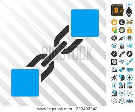Blockchain playing cards pictograph with bonus bitcoin mining and blockchain icons. Flat vector pictures for blockchain websites.